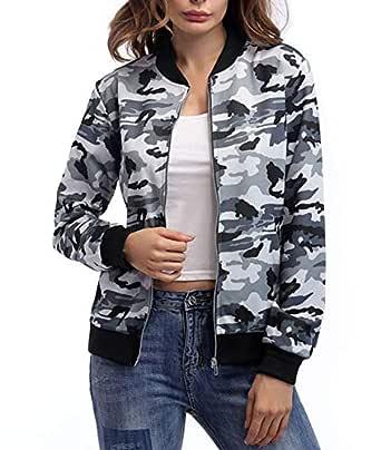 SheKiss Casual Camo Zipper Denim Jackets for Women Military Canvas Coat with Pockets