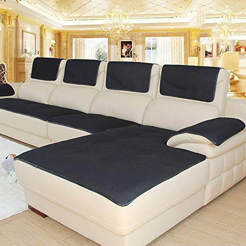 (Non-Slip Breathable Sofa Cover for Pets Dog, Summer Sectional Couch Sofa Covers for Leather Sofa Stain Resistant Furniture Protector-Black 80x80cm(31x31inch))