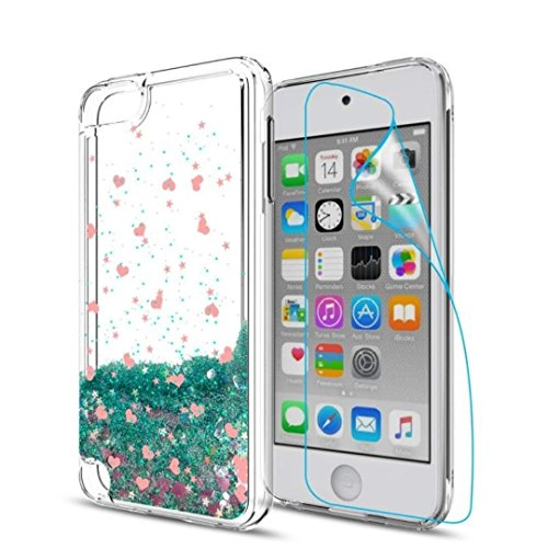 iPod Touch 6 Case,iPod Touch 5 Liquid Case with HD Screen Protector for Girls,Aree Shiny Glitter Bling Quicksand Clear TPU Protective Phone Case for Apple iPod Touch 6th / 5th GenerationTurquoise