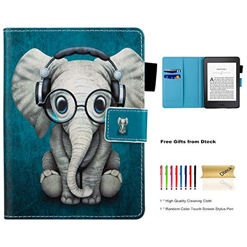 Dteck Case for Kindle Paperwhite with [Stylus Pen] - Slim Light Synthetic Leather Smart Case with [Card Slots] Pretty Cute Flip Folio Pocket Cover for Amazon Kindle Paperwhite 3/2/1-Music Elephant