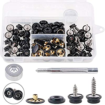 """Hilitchi 120Pcs Black [2-Sizes] Screw-in Snap Stud Fastener Screw Snaps 3/8""""Socket with Stainless Steel Philips Screws with Setting Tool Boat Canvas Snaps Set for Boat Cover Canvas Furniture Fabric"""