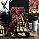 "Nalagoo Unique Custom Flannel Blankets Cars Decor Poster Style Gasoline Station Commercial With Kitschy Elements Route 66 Theme Graphic Super Soft Blanketry for Bed Couch, Twin Size 60"" x 70"""