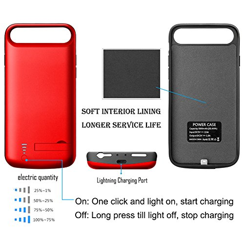 iPhone 7 Battery condition Cofuture 5500mAh potential Bank convenient Extended Battery Charger Protective Charging condition assist Lightning Headphone Sync as a result of together with Pop Out Kickstand iPhone 7 8 Red Battery Charger Cases