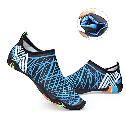 Water Shoes Mens Womens Beach Swim Shoes Quick-Dry Aqua Socks Pool Shoes for Surf Yoga Water Aerobics Blue 9.5 B(M) US Women / 8.5 D(M) US Men