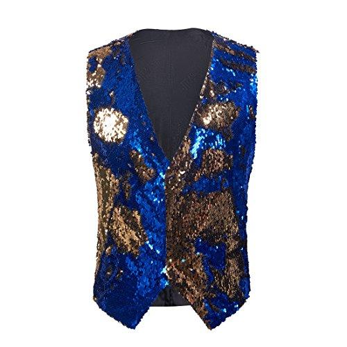 PYJTRL Mens Fashion Double-Sided Two Colors Sequins Waistcoat Vest (Blue + Gold, US 42R)