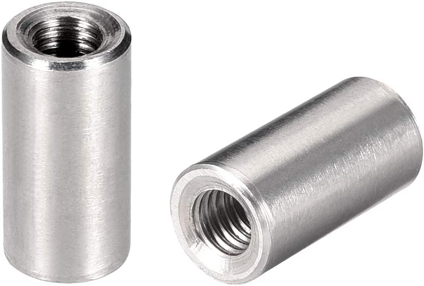 uxcell Round Connector Nuts, M6x20mm Height Sleeve Rod bar Stud Nut Stainless Steel 304, Pack of 5