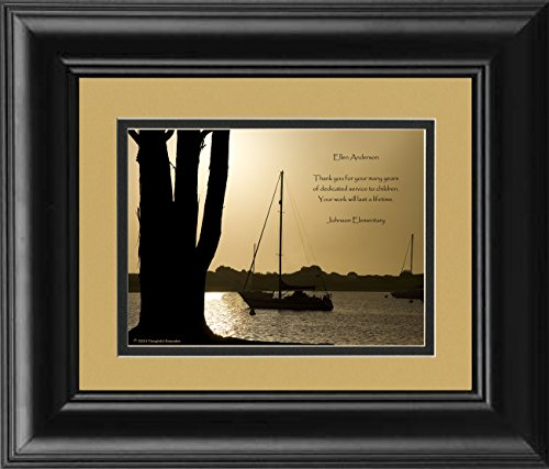 Framed Personalized Teacher Gift for Retirement or Teacher Appreciation Award. Boats at Dusk Photo, with