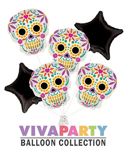 - Day of The Dead Día de Muertos Balloon Bouquet 6 pc   Viva Party Balloon Collection