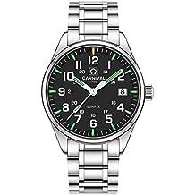 PASOY Men's Tritium Watch Green Light Sapphire Glass Stainless Steel Band Analog Quartz Luminous Watches (Model-Carnival)