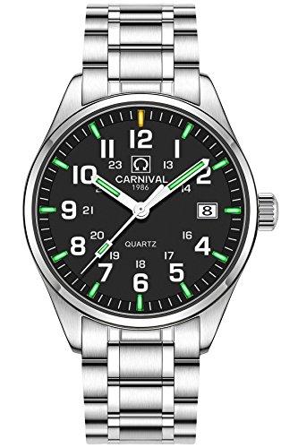 Steel Tritium Watch -  PASOY Men's Tritium Watch Green Light Sapphire Glass Stainless Steel Band Analog Quartz Luminous Watches (Model-Carnival)