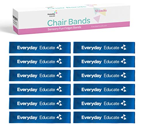 Chair Fidget Bands (12-Pack) - Improves Focus in The Classroom for School Kids and Students - Works for ADD ADHD Autism Sensory Needs - Bounce & Stretch Foot Band - Silent and Non-Disruptive
