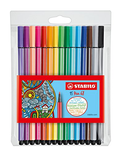 Stabilo Pen 68 Coloring Felt-tip Marker Pen, 1 mm - 15-Color Wallet by Stabilo