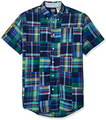 ccaea47c Tommy Hilfiger Men's Adaptive Magnetic Short Sleeve Button Shirt Custom Fit