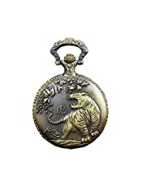 Vintage Chinese Zodiac Tiger Pocket Watch With Chain Engraved Fob Watch