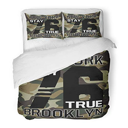 (Emvency 3 Piece Duvet Cover Set Brushed Microfiber Fabric Camouflage College with Slogan Army Soldier and Apparels Graphic Varsity Urban Breathable Bedding Set with 2 Pillow Covers Twin Size)