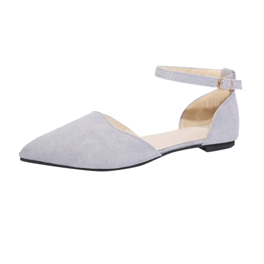YEZIJIN Hot Sale! Women Buckle Strap Low Heels Pumps Pointed Toe Flock Heels Sandals Shoes 2019 New Fashion Summer Beach Sexy Sandals Slippers for Girls Women Ladies Clearance Under 10 Dollars