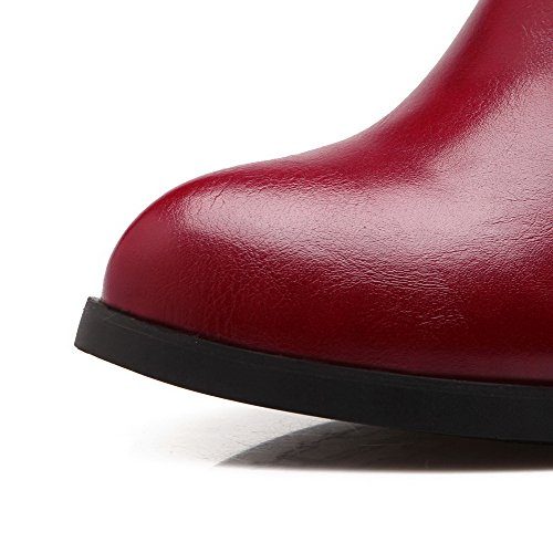 Boots Materials Closed Women's Allhqfashion Solid Kitten Blend Claret Pointed Toe Heels 6zqxHE