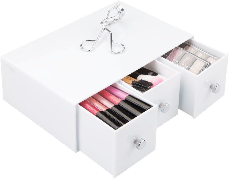 iDesign Drawers Schubladen Organizer Kunststoff wei/ß Schubladenbox auch f/ür B/üro Zubeh/ör drehbare Badezimmerablage mit 4 Schubladen f/ür Kosmetik /& Accessoires