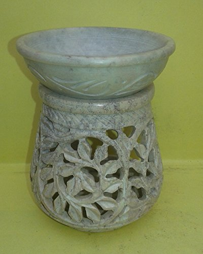 marble-hand-carved-aroma-lamp-oil-diffuser-burner-tea-light-holder-leaves-design-4-inch