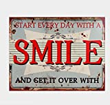 NEWNESS WORLD START EVERY DAY WITH A SMILE Retro Vintage Metal Tin Wall Art Decoration Wall Metal Sign Plaque Pub/Home/Coffee House Decoration,20 by 30 cm