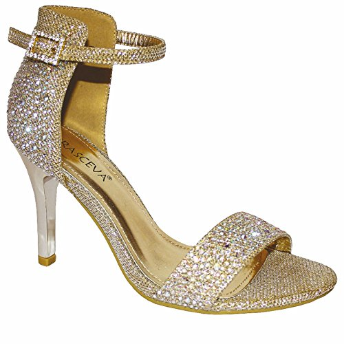 WOMENS MID HIGH HEEL SPARKLY DIAMANTE ANKLE STRAP PROM PARTY SANDALS SHOES UK Gold ik8XlE
