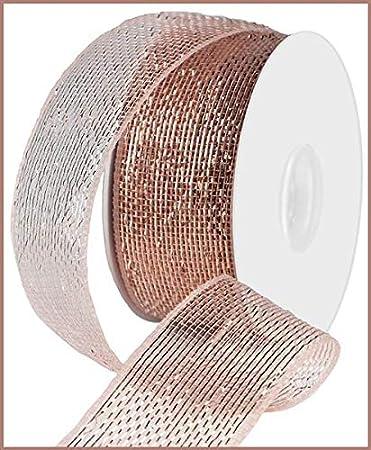 Rose Gold 4 Inch X 10 Yards Reliant Ribbon 93073W-699-10F Gala Glimmer 2 Wired Edge Ribbon