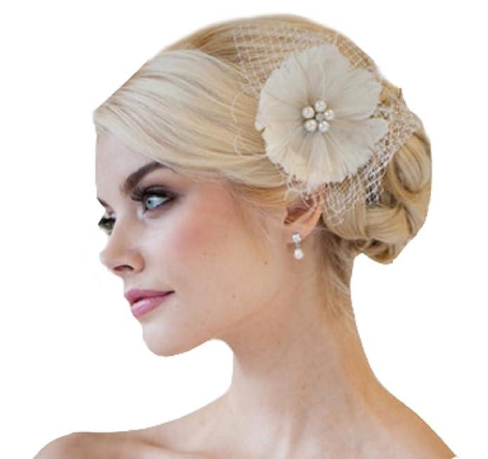 Tocado de pelo para novia de flores, fascinator de flores, red adorno para cabello durante la boda