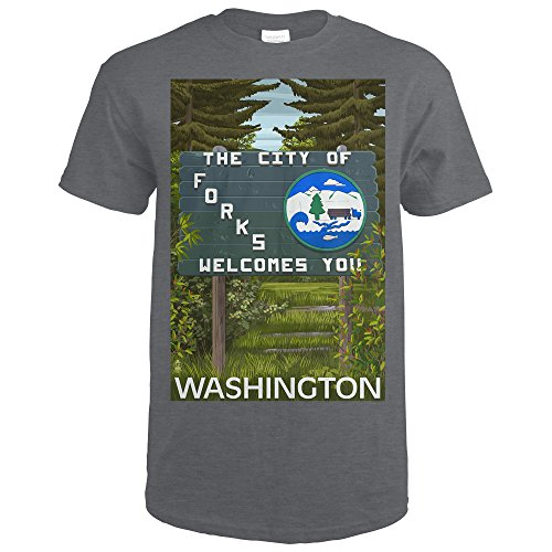 Washington Forks (Forks, Washington - Town Welcome Sign (Dark Grey Heather T-Shirt X-Large))
