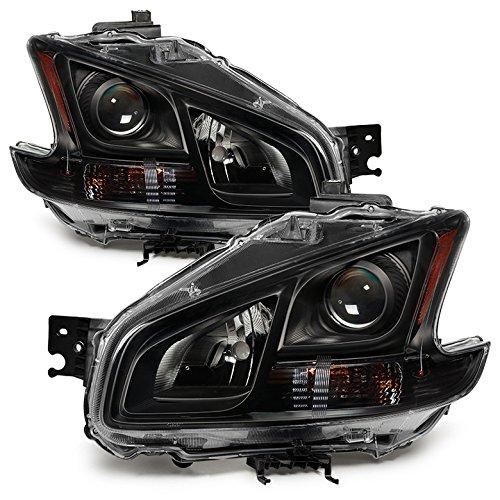 Nissan Maxima Amber Crystal Headlights - Black