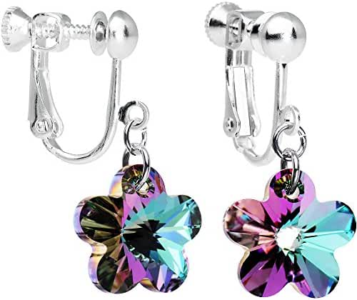 Body Candy Handcrafted Vitrail Light Flower Clip Earrings Created with Swarovski Crystals