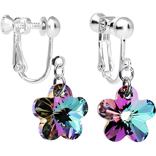 Body Candy Handcrafted Vitrail Light Flower Clip Earrings Created with Swarovski Crystals Screw Clip Earrings