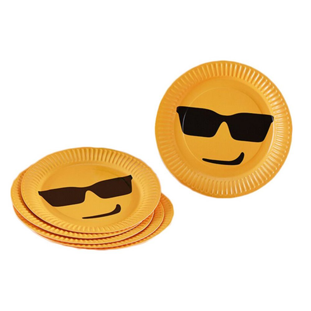 Yellow Plates with Cool Guy Sun Glasses Emoji