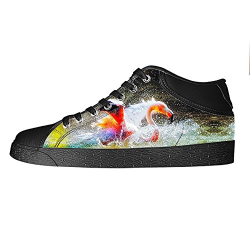 Custom Flamingo Pattern Mens Canvas shoes Schuhe Lace-up High-top Sneakers Segeltuchschuhe Leinwand-Schuh-Turnschuhe B
