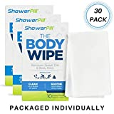 ShowerPill Body Cleaning Wipes with Special Cleansing Solution - Mens Shower Wipes - Special Cleansing Cloths - Camping Wipes for Bathing - 30 Seconds Clean with Body Gym Wipes (30 Pack)