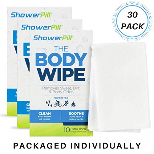 - Body Cleaning Wipes with Special Cleansing Solution - Mens Shower Wipes - Special Cleansing Cloths - Camping Wipes for Bathing - 30 Seconds Clean with Body Gym Wipes (30 Pack)