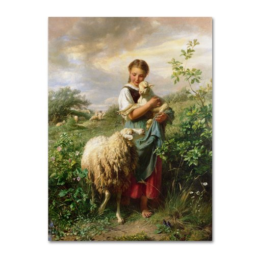 The Shepherdess 1866 Artwork by Johann Hofner, 18 by 24-Inch Canvas Wall - Poster Breeds Sheep