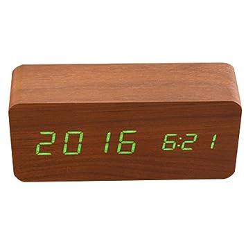 Haofy Despertador Digital, Reloj Despertador de Madera Electrónico con 3 Niveles Brillo y LED de Pantalla para Dormitorio (Marrón): Amazon.es: Hogar