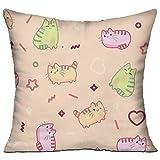 Huajsu Animal Print Pattern Kawaii Style Cat 18x18 Inch Square Pillow Standard Form Insert - Machine Washable