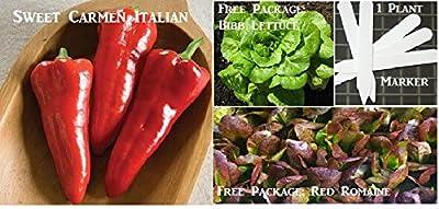 Sweet Carmen Italian Pepper Seeds 450 Seeds Upc 646263361214 + 1 Plant Marker
