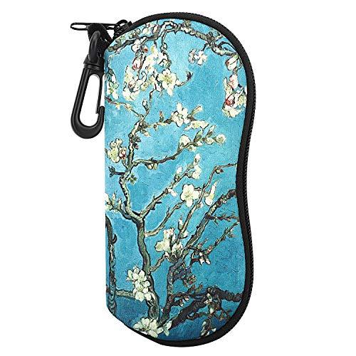 MoKo Sunglasses Soft Case Ultra Light Neoprene Zipper Eyeglass Case w/Belt Clip - Almond Blossom