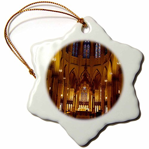 3dRose orn_145359_1 Interior of St. Patrick's Cathedral, New York, Usa-Us33 Bjn0017-Brian Jannsen-Snowflake Ornament, 3-Inch, - Cathedral Patrick St