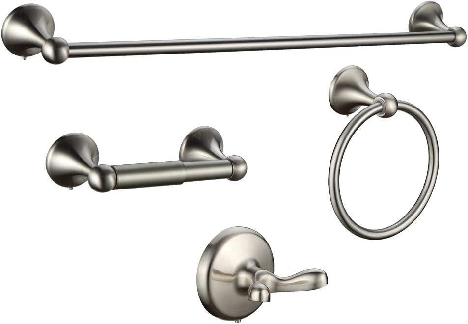 4-Piece Wall Mount Bathroom Hardware Accessory Set Towel Bar Set (Nickel, with 24'' Towel bar): Home & Kitchen