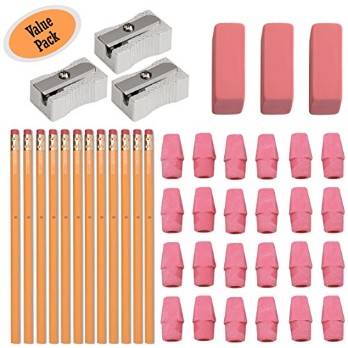 #2 HB Pencils, Wood-cased Pencils With Eraser Tops, 12 Pack - With 24 Pink Cap Erasers - With 3 Large Erasers - 100% Latex Free - With 3 Metal Pencil Sharpener - Value Pack