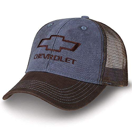 Chevrolet Bowtie Washed Dark Blue and Brown Mesh Hat ()
