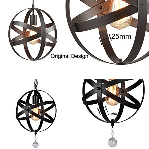 Truelite Industrial Metal Spherical Pendant Displays Changeable Hanging Lighting Fixture by AXILAND (Image #4)
