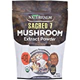 Sacred 7 Organic Mushroom Extract Powder - Reishi, Maitake, Cordyceps, Shiitake, Lion's Mane, Turkey Tail, Chaga + Organic Cocoa Powder - 226g - Supplement - Add to Coffee/Shakes/Smoothies