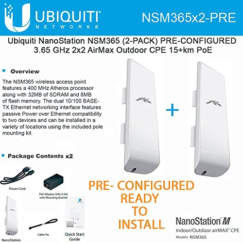 Ubiquiti NSM365 (2-PACK) PRE-CONFIGURED NanoStation 3.65GHz AirMax CPE by Ubiquiti Networks