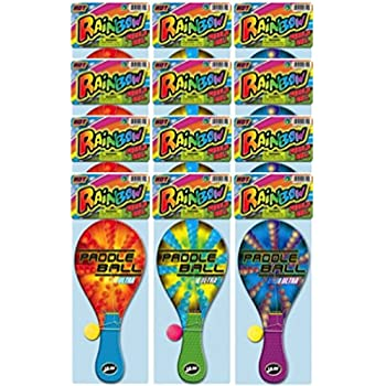 Ja-Ru Rainbow Paddle Ball (assorted color pack of 12)