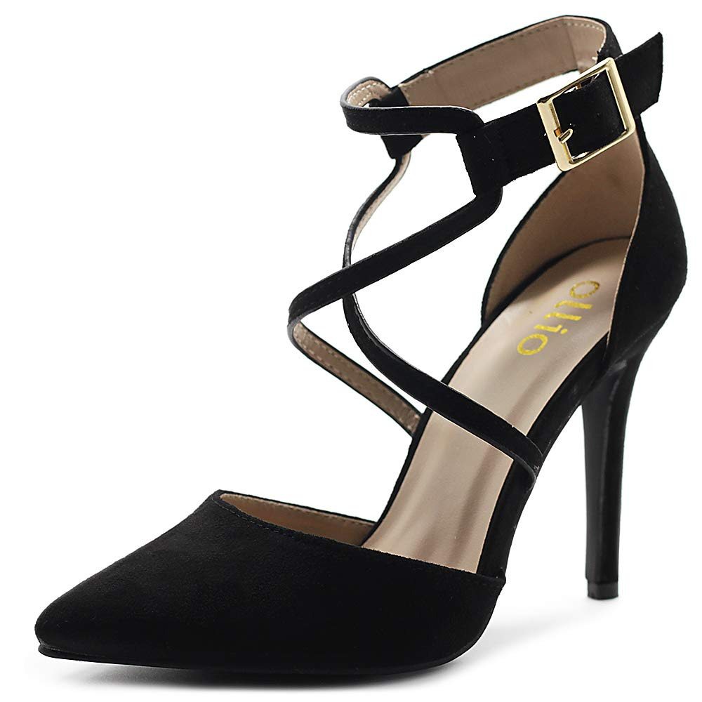 Black Ollio Women's shoes Faux Suede Ankel Buckle Cross Straps Pointed Toe High Heels Pumps H96