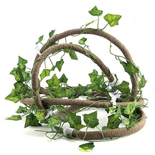(HEEPDD Artificial Bendable Vines Reptiles Habitat Terrarium Decoration Including 9.84ft Jungle Rttan Realistic Vine Leaf and Suction Cups(9.84ft Rattan+ lvy Leaves))